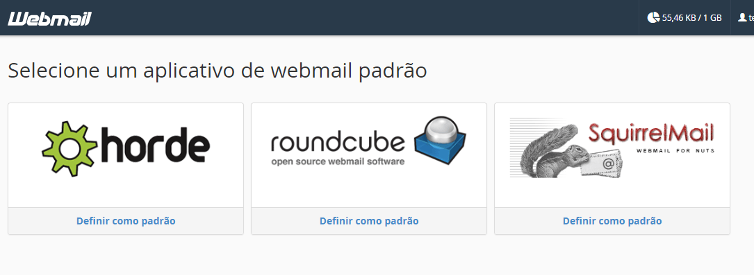 Opções de Webmail.