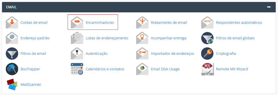 Na aba Email do cPanel.